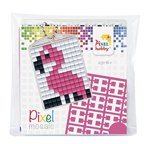 Pracht Creatives Hobby P23021 Pixel Set Medaillon Flamingo, Schlüsselring, Anhänger, für Kinder, Jungen und Mädchen, ideal als kleines Geschenk, Mitgebsel, für den Kindergeburtstag, bunt