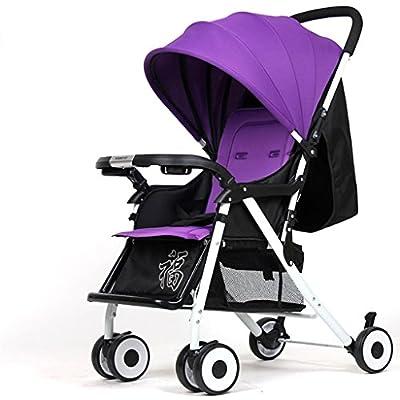Baby Trolley Alto Paisaje Puede recostarse Ultra-luz Portable Fold 1-3 años de Edad Baby Baby Baby Carruaje de Alto Carbono de Acero Paraguas Coche -by Virtpers (Color : Purple - White Tube Regular)