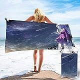 Sword Art Online - Toallas de playa de microfibra adecuadas para nadar, gimnasio, ducha, mochila, viajes y exteriores, súper absorbente, ligero y de secado rápido, viene con ganchos y bolsas ~ AQ2