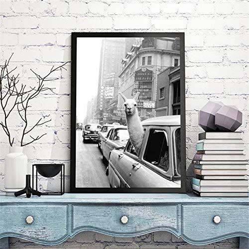 ganlanshu Moderne Leinwand Kunst Malerei Alpaka Kopf Poster Retro Persönlichkeit Bild Home Decoration Wandmalerei Anpassbare Rahmenlose Malerei 40 cm x 60 cm