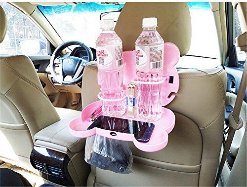 Dbtxwd Auto-Auto-Rücksitz-Tabelle, Faltbarer Getränk-Organisator-Halter-Nahrungsmittelschalen-Behälter-Organisator, 2 PC,Pink