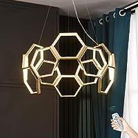 ゴールドモダンなLEDペンダントライトシャンデリア180 wリモート調光天井ランプ調節可能な吊りライトリビングルームの寝室ダイニングルームホテル