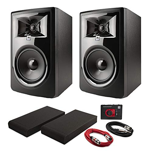"Price comparison product image JBL 306PMKII Powered 6"" Two-Way Studio Monitors (Pair) with Nano Patch Controller,  Isolation Pads and Cables"