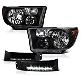 VIPMOTOZ Black OEM-Style Headlight + Black LED Strip Front Bumper Fender Extension Panel Lamp Housing Assembly Replacement For 2007-2013 Toyota Tundra & 2008-2017 Sequoia