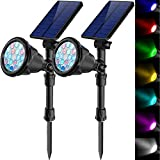 Solar spot Light Outdoor 7 RGB Color Changing Landscape Flood lamp Lighting for Garden Path Walk Garage Yard Patio Tree Floodlight Gift for Christmas Valentine's Mother's Father's Day Decorations