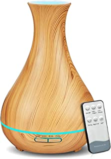 KBAYBO 550ml Aroma Diffuser Essential Oil Diffuser with Remote Control Ultrasonic Air Humidifier with Wood Grain 7-Color LED Night Light for Office Home Spa Yoga (Light-Remote)