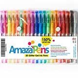Pens - Glitter Gel by AmazaPens - 20 Pack Super Glitter Colored Pen Sets   Best for Adding Sparkle to Your Adult Coloring Books and Art Projects.