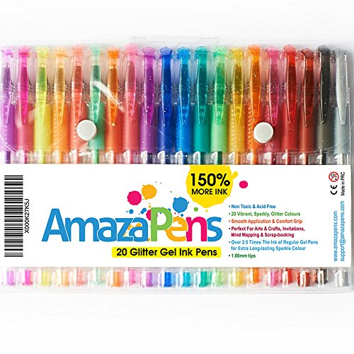 Pens - Glitter Gel by AmazaPens - 20 Pack Super Glitter Colored Pen Sets | Best for Adding Sparkle to Your Adult Coloring Books and Art Projects.