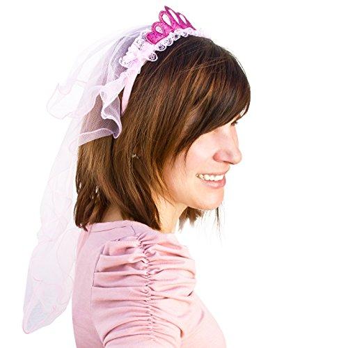 Oblique Unique® Haarreifen mit Brautschleier und Glitzer Krone Junggesellinnenabschied JGA Hen Party Hochzeit Schleier Pink Rosa