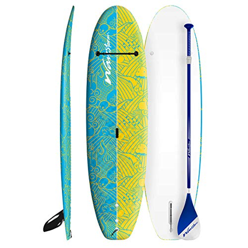 Wavestorm 8ft Stand Up Paddleboard // Foam Wax Free Soft Top SUP for Adults and Kids of all levels of Paddling