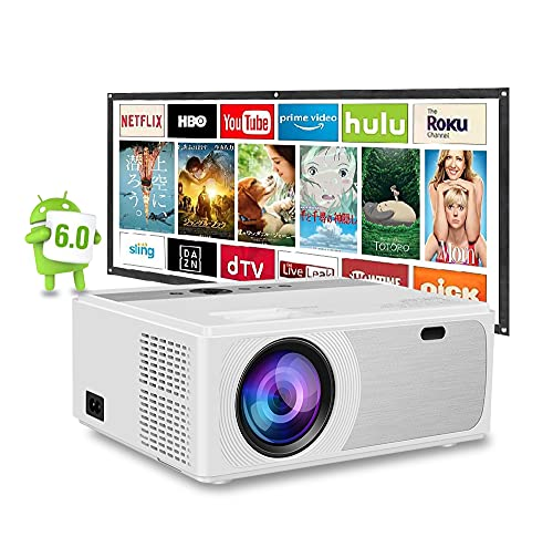 Android TV搭載 1080PフルHDプロジェクター 6500ルーメン WIFI接続 ±15°4 D台形補正 X   Yズーム機能 高コントラスト6000:1 パワフルなスピーカー内蔵 ホームシアターLEDビデオHDプロジェクター