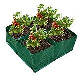 conpoir Macetero Cuadrado Bolsas de Cultivo Camas de plantación de Tela Grandes Bolsas de Cultivo de jardín con 4 Compartimentos para Zanahorias Cebollas Hierbas Flores Verduras Suministros de jardín