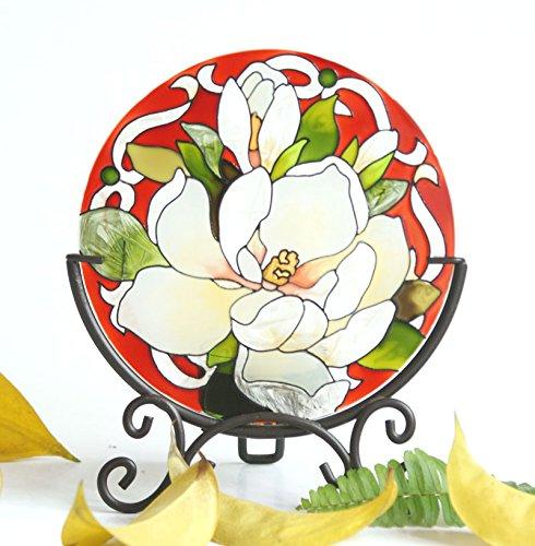 EliteShine peint à la main Art Verre Bougie chauffe-plat Surnappe Candleware Vacances Décor Home Decor Spa Décor fête d'anniversaire (fleur)