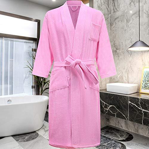 YSKDM 100% algodón, Toalla de Sudor, Batas de baño para Hombre, Talla Grande, Kimono de Invierno, Albornoz cálido, Ropa de Dormir de Felpa para Hombre, Bata para Mujer, Rosa, L