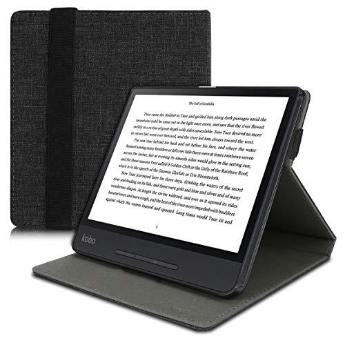 kwmobile Hülle kompatibel mit Kobo Forma - Schlaufe Ständer - e-Reader Schutzhülle - Stoff Dunkelgrau