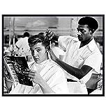 Vintage Elvis Presley Photo, Wall Art Decor - Barbershop Haircut Photograph for Salon, Barber Shop, Bathroom, Living Room, Bedroom - Gift for Country Music, Graceland Fan, Hair Stylist - 8x10 Poster