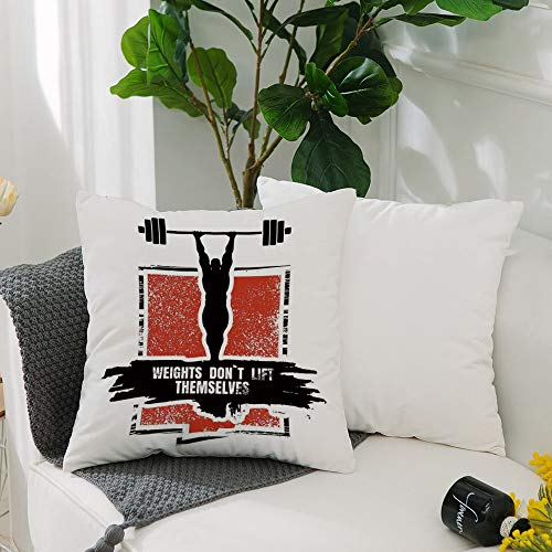 Washable Cushion Covers 20x20 Inch,Fitness,Bodybuilder and Huge Barbell Silhouettes Icon of Posing Athlete Weights Lift Decora,Square Decorative Throw Pillowcases for Livingroom Sofa Bedroom 50cmx50cm