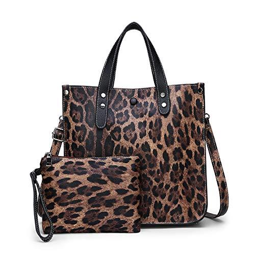 NOTAG Bolsos de Mujer, Bolso con Estampado de Leopardo Bolsa de Gran Capacidad PU Bolso de Cuero con Bolsa (Marrón)