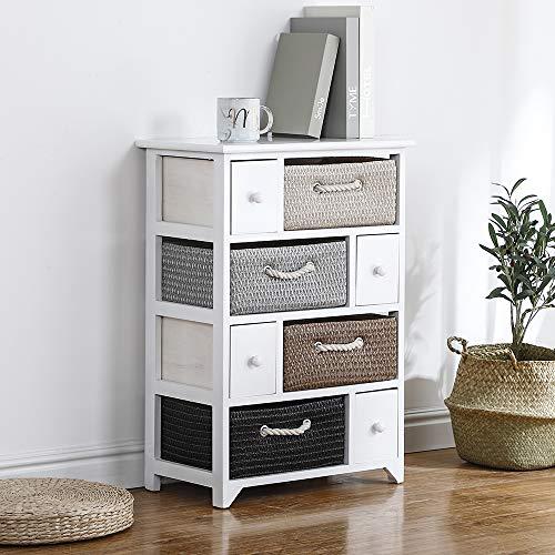 Keinode Mesita de noche de almacenamiento con cestas de mimbre de tejido organizador de estilo rústico, gran cajón, unidad de armario lateral, para dormitorio, sala de estar, baño pasillo (8 cajones)