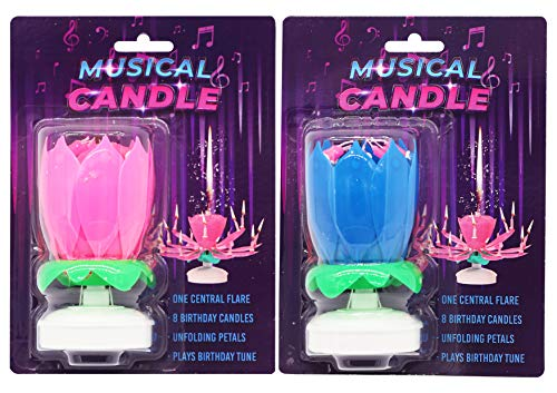 4 X Musical Birthday Candle Lotus Flower Shape Plays Birthday Music with Lotus Opening ( 2PINK + 2 Blue)