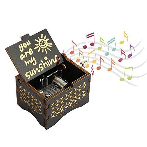 Usted es mi caja de música de madera de Sunshine Wood, reloj de música vintage de madera montado a mano, pequeño estuche de música grabado, para regalo de cumpleaños, Navidad, San Valentín