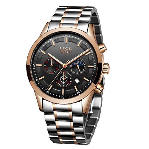 LIGE Relojes para Hombre Moda Acero Inoxidable Deportivo Analógico Reloj Cronógrafo Impermeable Data Negocios Reloj de Pulsera