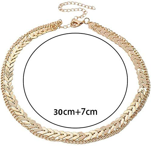 WLHLFL Necklace Women Gold Color Metal Two Layers Choker Necklaces Fish Bone Chain Simple Jewelry Gift Necklace for Women Men