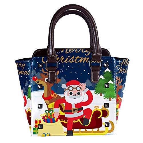 Nananma Handtasche mit Tragegriff, Schultertasche für Damen, Leder, mit Weihnachtsmann auf einem Rentier, Schlitten-Print