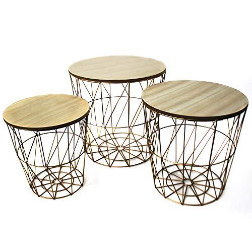 Unbekannt 3er Set Design Beistell Couch Nacht Tische Wohn Zimmer Ablagefläche Gold braun Noor 77149