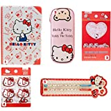 Sanrio Japan Hello Kitty Merchandise Stationary Gift Set for her : 5 Items include Icon Paper Clip, Post Note, Adorable Pencil Pouch, Cute Notebook and Pen Set (Red Version)