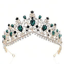 Green Luxurious Rhinestone Bridal Crown Tiara