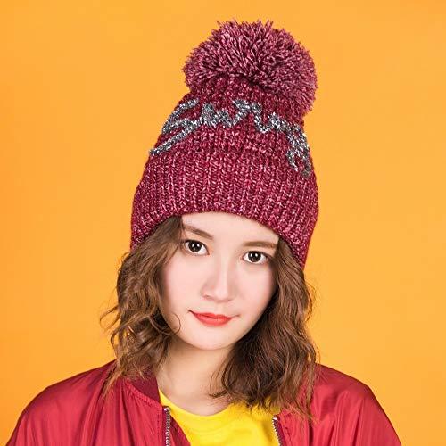 JXFM Winter dubbele laag plus fluwelen dikke gebreide muts vrouwelijke zilveren zijden letters wilde warme wol bal wol cap