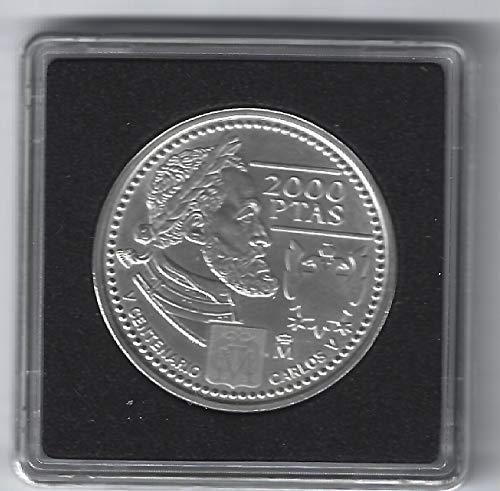 Matidia España Moneda Original de 2000 pesetas Plata 2000 Carlos V en cápsula Quadrum
