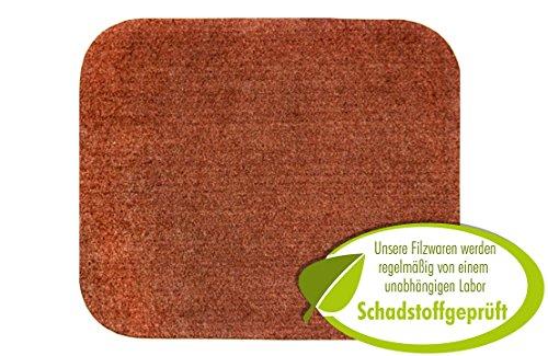 Mauspad aus Filz, Mousepad modern in rehbraun. Original Luxflair  Mausunterlage inkl. Anti-Rutsch-Pad