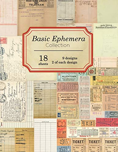 Compare Textbook Prices for Basic Ephemera Collection: 18 sheets - 9 designs - 2 of each design Vintage Ephemera Collection  ISBN 9781688915374 by Journals, Ilopa