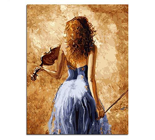 ysurehom Rahmenloses Bild an der Wand Acrylmalerei nach Zahlen DIY Ölgemälde nach Zahlen Einzigartiges Geschenk Mädchen spielt die Geige