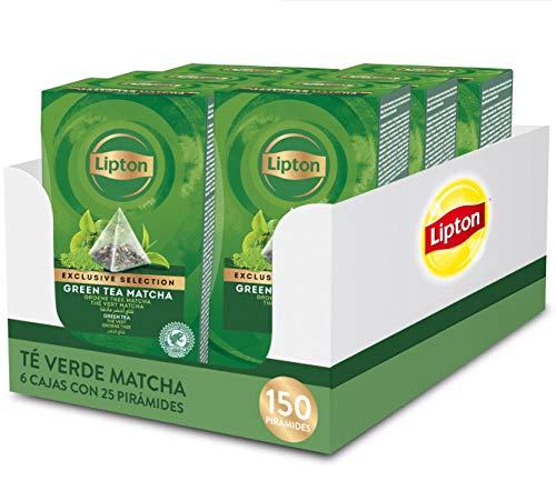 Lipton Selección Exclusiva Té Verde Matcha, 25 Pirámides, Pack de 6