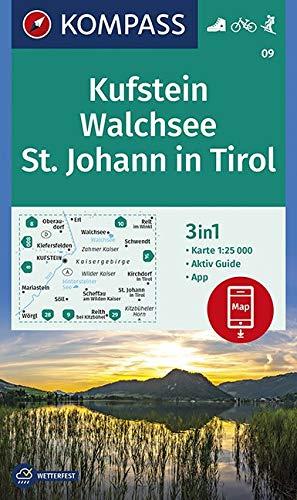 Carta escursionistica n. 09. Kufstein, St. Johann in Tirol 1:25.000: 3in1 Wanderkarte 1:25 000 mit Aktiv Guide inklusive Karte zur offline Verwendung in der KOMPASS-App. Fahrradfahren. Skitouren