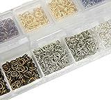 Ösen Verbinder Set Binderinge Biegeringe Öse 5mm x 0,7mm Metall Offen Ringe Silber Gold Altsilber Kupfer Bronze Schwarze Silber Verbindungsringe Schmuckteile mit Sortierbox M397