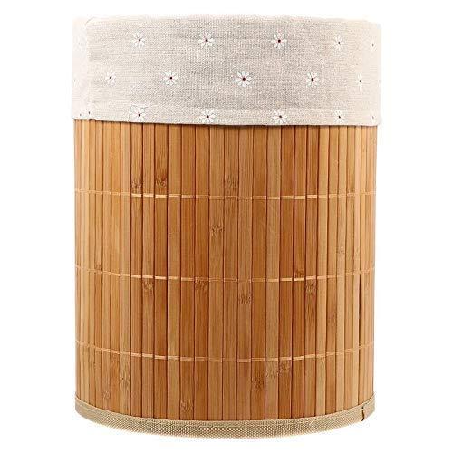 1pc Cesta de Almacenamiento de Tejido de bambú Cesta de artículos Diversos Cesta de Ropa Plegable Papeleras de Oficina en casa (Color: Color Madera)