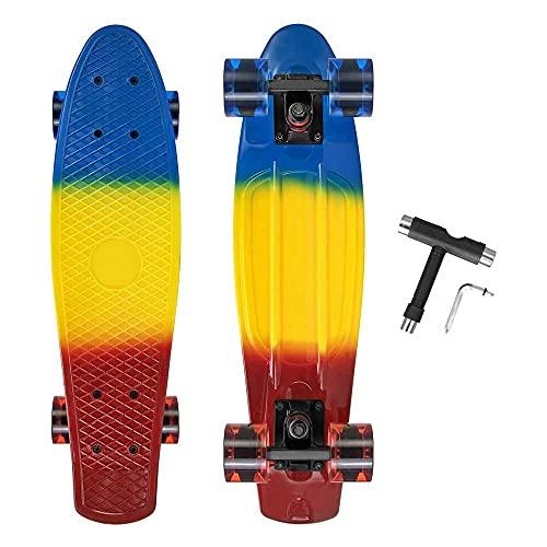 AXB Skateboard Monopatín Completo, 22'' Skateboard Mini Cruiser Retro Crucero 4 PU Ruedas Traslúcidas ABEC-7 Rodamientos,para Niños Jóvenes Adultos Principiantes