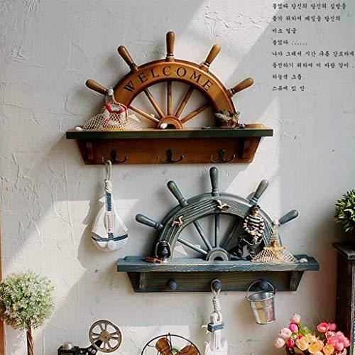 DNSJB Badkamer Wandplank Mediterrane Tuin Retro Half Badkamer Bar Keuken Badkamer Plank Bar Kleding Winkel Huisdecoratie Creatieve Haak Schoonheid Plank Decoratie