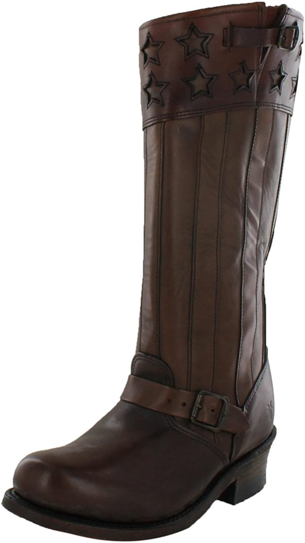 Frye New Engineer Americana Tall Dk Brown Vintage Leather Boots Ladies