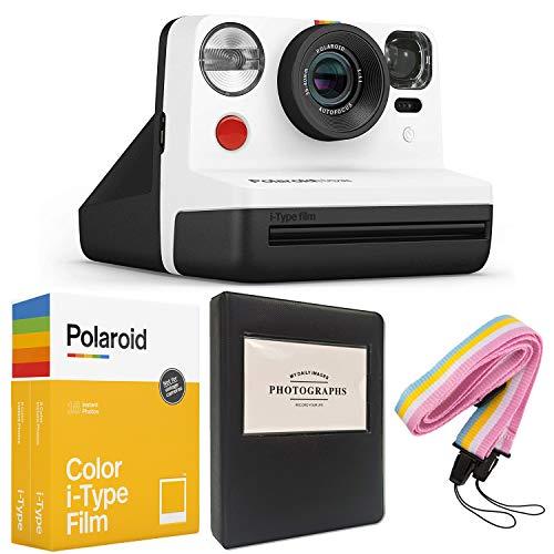 Polaroid Now i-Type Instant Camera - Black & White + Polaroid Color i-Type Film (16 Sheets) + Black Album + Neck Strap - Gift Bundle