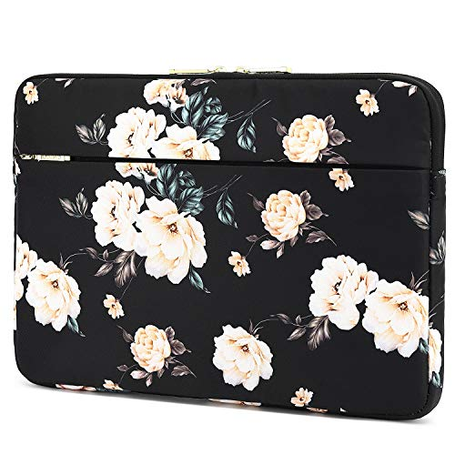 KAYOND 14 inch Laptop Sleeve, Compatible MacBook pro 15.4(2017-2020) and 14 inch Notebook Computer, Water Repellent Laptop Bag,Shockproof case (14-14.1 inch, Black Peony)