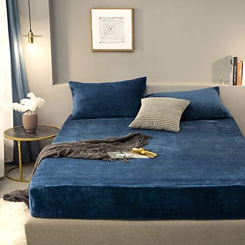 LYXQQ 3-Piece Velvet Flannel Duvet Cover with Sliding Lid, Soft Duvet Cover, Pillowcase, Double 180 x 200 cm, Blue