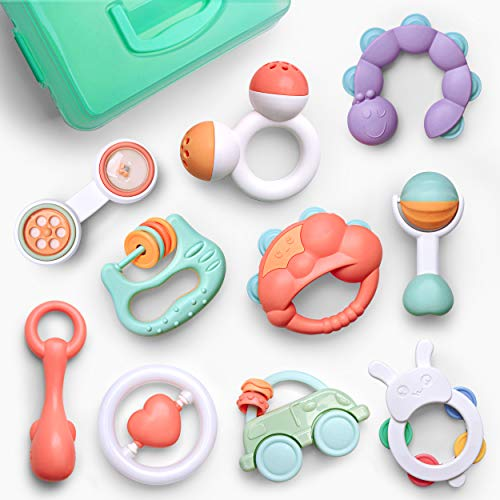 Gizmovine 10pcs Baby Toys Rattles Set Infant Grasping Grab Toys Spin Shaking Bell Musical Toy Set Early Educational Toys with Storage Box for Toddler Newborn Baby 3 6 9 12 Month