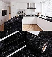 FANPING 厚い防水マーブル柄キッチン耐油性キャビネット表カウンターステッカー家具の改修壁紙自己接着壁紙 (Color : Black 2, Size : 60cm*10m)