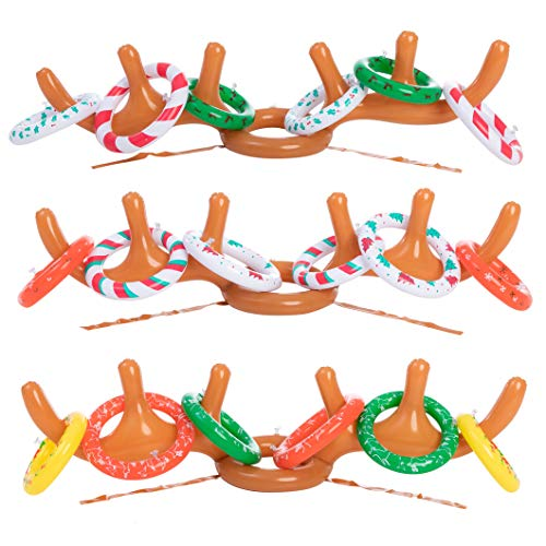 JOYIN Inflatable Reindeer Antler Toss Game for Christmas Party-One Size Fit All (3 Set Combo)