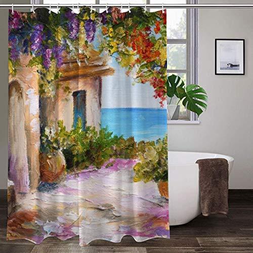 XCBN Ölgemälde Landschaft Duschvorhänge Blumen Pflanze Schwan Frühling Landschaft Bad Vorhang Wasserdicht Badezimmer Dekor Stoff A10 180x200cm